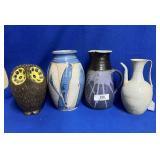 2 Pitchers, Ceramic Owl & Ceramic Blue/Grey Vase
