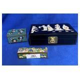 2 Cloisonné Boxes w/Floral Decoration & Other Box