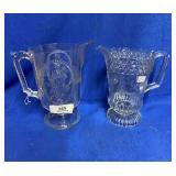 Two Pattern Glass Pitchers