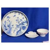 Large Porcelain Blue & White Plate & Miscellaneous