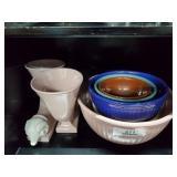 2 Horns of Plenty Ram Head Vases & 5 Ceramic Bowls