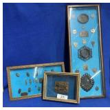 3 Shadow Boxes w/Mostly Bronze Miniatures
