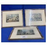 3 Framed Ackerman Colored Prints