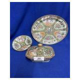 Oriental Porcelain Platter, Tureen & Bowl