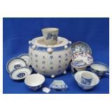 Oriental Porcelain Stand, China Cups, Small Bowls
