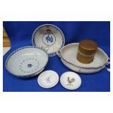 3 Porcelain Decorated Bowls, Rounded Box &
