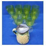 Majolica Syrup & 9 Vaseline Stemmed Glasses