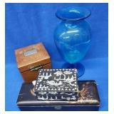 Large Blue Crystal Vase, Wood Humidor & 2 Boxes