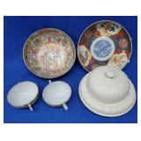 Porcelain Covered Butter Dish & Miscellaneous