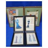 4 Hand Colored Framed Fashion Prints & 2 Others
