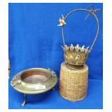 Brass & Copper Antique Incensor & Handled Basket