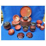 44pcs. Of Oriental Decorated Lacquered Dishes