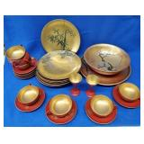 26pcs. Of Red & Gold Dishes
