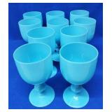 10 Blue Opalescent Stemmed Goblets