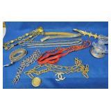 8 Belts, Glass Cream/Sugar, Silver Rimmed Coaster