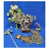 Assorted Floral Items, Oriental Brass Wall Hanging