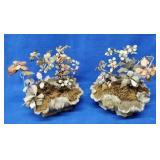 2 Oriental Soapstone Planters w/Stone Flowers