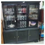 Black Lacquer China Cabinet w/3 Glass Doors