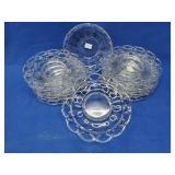 14 Crystal Glass Plates & Matching Bowl
