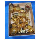 Pair of Amber Glass Candelabra Parts