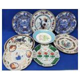 Porcelain Plates & Old Paris Floral Compote