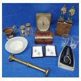 Small Leather Box, Brass Muddler, Copper Mug, Etc.