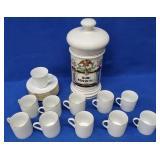 Porcelain Apothecary Jar, 11 Cups & 8 Saucers