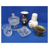 Glass Compote, Cut Glass Dish, Brass Mortar, Etc.