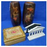 2 Large Wood Vases, Pair of Bookends, Wood Box