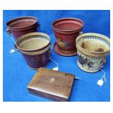 4 Tole Decorated Tin Pales & Leather Hinged Box