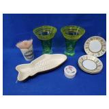 Ceramic Fish Mold, 2 Vaseline Vases & More