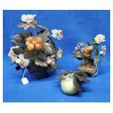 2 Oriental Jade Floral Trees &  Jade Apple