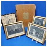 4 Framed Engravings & Scrapbook of Portraits