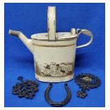 Large Tole Watering Can, 2 Iron Trivets,