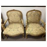 Pair of Upholstered Louis Style Armchairs