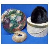 2 Vintage Hat Boxes w/Fur Hat & Collar