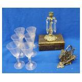 6 Swirled Glass Venetian Stemmed Wines, Etc.