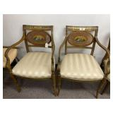Pair of Hand Painted Caned Arm Chairs