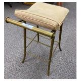 Brass Stool w/Curved Seat Cushion
