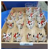 14 Glasses - 2 Sizes, Decorated w/Horse Riders