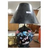 Black Floral Lamp with Black Shade