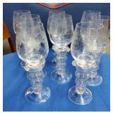 8 Stemmed Wine Glasses w/Frosted Grapes/Leaves