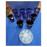 Assorted Glasses & Glass Covered Box