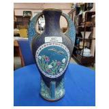 Large Czech Enameled Handled Vase