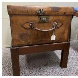 Leather Travel Trunk on Wooden Stand