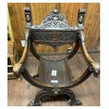 Highly Carved Savonarola Chair