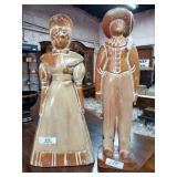 2 Large Wood Carved Figures of Male & Female