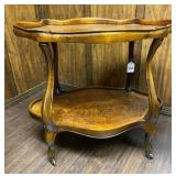Antique Oval Side Table w/ Shelf and Casters