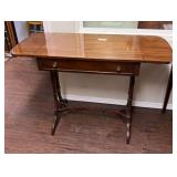 Antique Drop Leaf Library Table with Drawer
