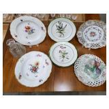 7 Floral Plates, Glass Box, Glass Bottle